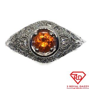 Orange round CZ White gold on silver Ring S6